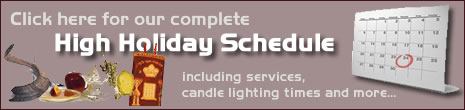 High Holidays Services Schedule